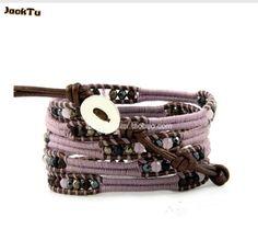 2017 hot pyrite mixed on lavender cotton cord leather bracelet wrap women
