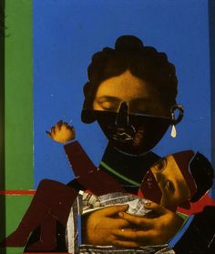 Mother and Child, 1977, by Romare Bearden (American, 1911-1988).