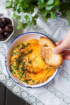 lebanese pumpkin (butternut squash) hummus. Tahini, garlic, parsley, sesame seeds, lemon juice