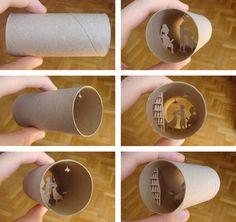 Little worlds inside of loo paper rolls by Anastassia Elias