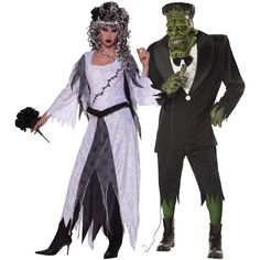 Bride of Frankstein and Frankstein. I don't know about the mask, but the make up is a good option. Scary Couples Costumes, Couples Halloween Outfits, Crazy Costumes, Scary Halloween Costumes, Adult Costumes, Scary Images, Perfect Couple, Costume Design, Daily Fashion