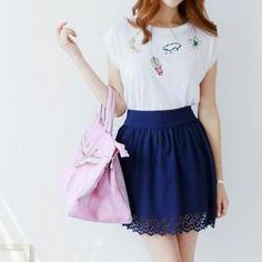 Eyelet-Lace Hem Skirt