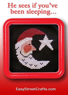 """Framed in 5""""x5"""" Red Hoop-Frame from Easy Street Crafts - Santa Moon design is from Stitches and More : The Prairie Schooler"""