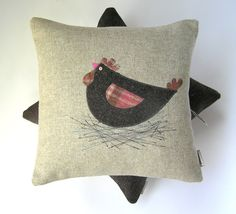 LOVE these! BROODY CLUCK CUSHION, Tweed and Tartan Hen Pillow, Gift for Hen lovers. $70.00, via Etsy.