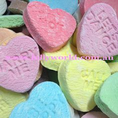 Conversation Candy Hearts have message imprinted into the candy facing great for wedding bonbonnieres, Valentines Day of just to give to the one you love. Wedding Chocolates, Converse With Heart, Confectionery, Marry Me, Brisbane, Easter Eggs, Valentines Day, Candy, Ethnic Recipes