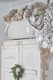 basket vintage shabby chipping farmhouse cottage French
