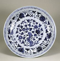 Blue-and-White dish with Peony Scrolls Design, Yuan Dynasty, 14th Century, d.44.5cm. Gift of SUMITOMO Group, the ATAKA Collection. Acc. No. 11264 © 2009 The Museum of Oriental Ceramics, Osaka