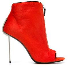 Vic Matie open toe boots ($660) ❤ liked on Polyvore featuring shoes, boots, heels, orange shoes, stiletto high heel shoes, open toe boots, orange boots and high heels stilettos