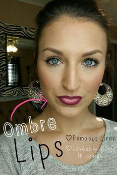 Ombre lips is the new trend! Younique products used to achieve this look: 3D Fiber Lashes Pompous Liner Loveable Lucrative Gloss in center