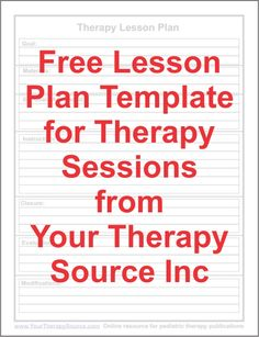 Free lesson plan template for OT/PT/SLP Repinned by SOS Inc. Resources http://pinterest.com/sostherapy.