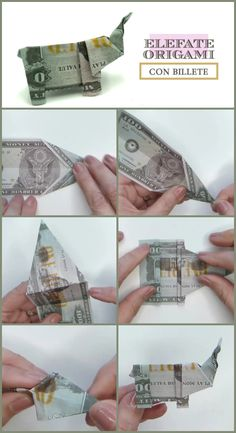 Elefante Origami Con Billete Dollar Bill Origami, Personalized Items, Origami Easy, Origami Tutorial, Tutorials