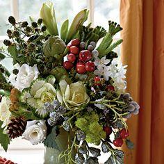 Great arrangement for a winter wedding: cedar berries, euc pods, wax dipped pinecones, crabapples, cabbage