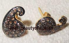 Art Nouveau 1.42cts Pave Rose Cut Diamond Silver Awesome Earrings / Stud VTJ RBW #realbeautyofwoman