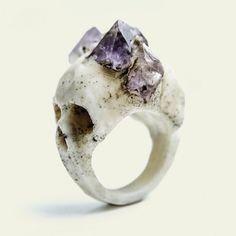 AMETHYST BI-FACIAL RING by Macabre Gadgets// Sisters of the Black Moon