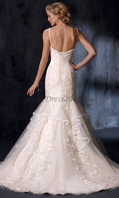 Trumpet/Mermaid Spaghetti Straps Chapel Train Sleeveless Lace Wedding Dresses For Brides Elegant Wedding Dress, Wedding Gowns, Lace Wedding, Mermaid Wedding, Wedding Flowers, Dream Wedding, Cheap Wedding Dresses Online, Beautiful Bride, Dress Collection