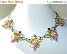 Romantic Grapes Necklace, Celluloid Enamel Rhinestone Handpainted Necklace, Costume Jewelry, 50s Vintage Jewelry  Measures adjustable up to 17- 1/2
