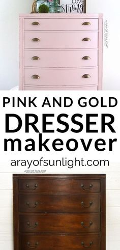 Such a good DIY dresser makeover!! This pink and gold dresser is perfect for a pink bedroom with pink bedroom decor! Learn how to get this look for your vintage pink dresser with your thrift finds! Also learn how to fix veneer that is lifting, and how to fix veneer chips with Bondo. You can easily repair an old dresser before painting with these steps! By A Ray of Sunlight #pinkandgold #diydressermakeover #bedroomdiy