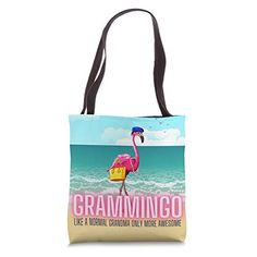 Grammingo Like a Normal Grandma Pink Flamingo Gift For Women Tote Bag Pearl Maricela Flamingo Gifts, Amazon Gifts, Pink Flamingos, Black Cotton, Gifts For Women, Reusable Tote Bags, Pearls, Decor, Decoration