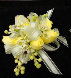 Yellow Spray Rose Wrist Corsage - for Mothers with Bits of Blue