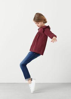Katoenen blouse met ruches | MANGO KIDS