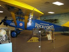 some of the parts of this plane were damaged and the originals are seen in front of it. this is the famous Rockford to Stockholm plane.  Midway Village Rockford Illinois