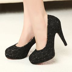 $9.47 Autumn Korean version of the new career shoes nude color lace shoes black round head waterproof ultra high heels the nightclubs single shoes-ZZKKO