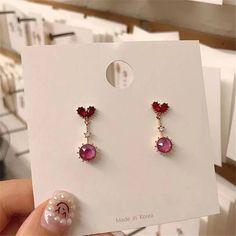 Kawaii Jewelry, Kawaii Accessories, Jewelry Accessories, Pink Earrings, Cute Earrings, Heart Earrings, Vintage Earrings, Ear Jewelry, Cute Jewelry