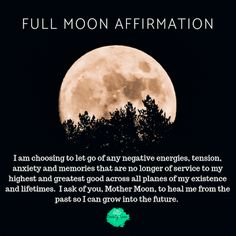 The moon is at the heart of human life. It's phases coincide with various biological rhythms in human, animal and plant life, and its gravitational pull effects the tides each day. Use this full moon affirmation to let go of negativity. Full Moon Spells, Full Moon Ritual, Full Moon Meditation, Full Moon Quotes, Health Anxiety, Mental Health, Spiritual Health, Spiritual Growth, Moon Moon