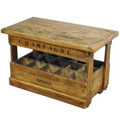Antique French Wooden Champagne Bottles Storage Rack from Burgundy