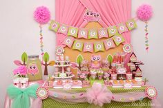 Cute pink Owl Baby Shower. See more party ideas at CatchMyParty.com.  #owlpartyideas