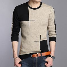 Coodrony 2018 Winter New Arrivals Thick Warm Sweaters O-neck Wool Sweater Men Brand Clothing Knitted Cashmere Pullover Men 66203 Warm Sweaters, Casual Sweaters, Long Sweaters, Pullover Sweaters, Men Sweater, Pullover Mode, Pullover Outfit, Sweater Fashion, Sweater Outfits