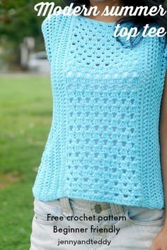 Crochet Blusas Patterns modern summer top tee beginner friendly by T-shirt Au Crochet, Bunny Crochet, Pull Crochet, Mode Crochet, Crochet Tunic, Crochet Woman, Crochet Clothes, Easy Crochet, Crochet Edgings