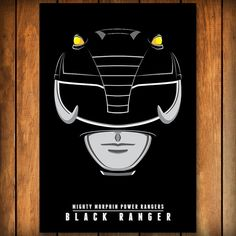 Black Ranger Helmet - Mighty Morphin Power Rangers Poster
