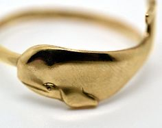 Gold Whale Ring, Handforged 14K Gold Fill Ring, Animal Jewelry, Nautical Ring