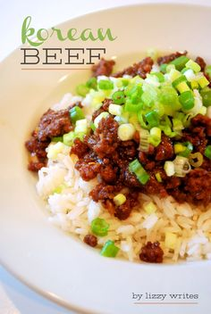 korean beef - 1 pound lean ground beef - cup brown sugar cup soy sauce 1 Tablespoon sesame oil 3 cloves garlic, minced teaspoon fresh ginger, minced - 1 teaspoon crushed red peppers (to desired spiciness) salt and pepper 1 bunch green onions, diced Beef Dishes, Food Dishes, Main Dishes, Asia Food, Asian Recipes, Healthy Recipes, Healthy Food, Old Recipes, Korean Beef