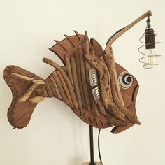 Handmade wood sculpture #driftwood #animals #fish #wood #sculpture #art #recycling# design