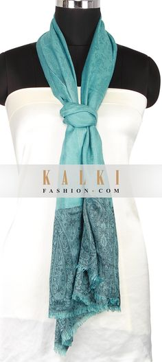 Buy Online from the link below. We ship worldwide (Free Shipping over US$100) http://www.kalkifashion.com/milky-blue-scarf-enhanced-in-paisley-motif-weaved-only-on-kalki.html