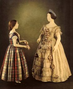 Dress worn by Queen Victoria to the opening of the Crystal Palace, May 1, 1851, and a dress thought to have been worn by Victoria, Princess Royal ca. 1850-52