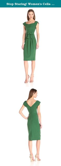 Stop Staring! Women's Celia Fitted Dress, Green, 16. Charming with character, the fitted celia dress is made in a soft rayon blend and paired with vibrant green for a look that creates a statement not easily forgotten. Design details reign supreme in this style with pleats that gather together to the side of the waist set off by the bow toward which they are drawn together. The very subtle sweet-heart neckline trails up to the chic cap sleeves whose shape mimics that of the bow loops in…
