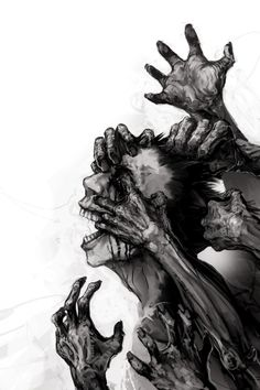 dark art Zombie Book Cover by zoppy via DevianArt Zombie Drawings, Creepy Drawings, Dark Art Drawings, Dark Artwork, Zombie Kunst, Zombie Art, Fantasy Kunst, Dark Fantasy Art, Arte Horror
