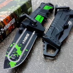 ~ 12 ~ ZOMBIE HUNTER Spring Assisted Opening Knife Black Green Chain Saw Rescue Knives #ZHUNTER