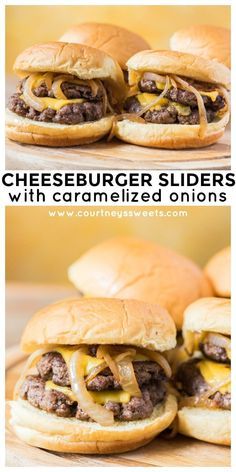 Juicy and delicious Cheeseburger Sliders with Caramelized Onions WILL be a hit at your next BBQ! The soft potato burger buns are the cherry on top! Featuring step by step photos on how to make cheeseburger sliders. Slider Recipes, Burger Recipes, Beef Recipes, Cooking Recipes, Yummy Burger, Fun Easy Recipes, Easy Chicken Recipes, Easy Meals, Gastronomia
