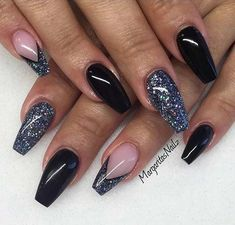 Black and Blue Glitter Coffin Nails