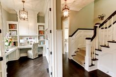 Love this office with built ins! Wondering if we have the skills for such a project?!
