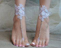 barefoot sandals iovry Beach wedding shoes bangle by UnionTouch Barefoot Sandals Wedding, Beach Wedding Shoes, Lace Weddings, Wedding Lace, Elegant Wedding, Bare Foot Sandals, Beach Sandals, French Lace, Anklet