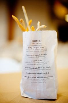 Menu on a sack of fries!