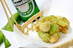 """A broad bean and a chicken inner breast fillet KAKIAGE for early summer snacks""  そら豆と鶏ささみのかき揚げ 初夏のおつまみ"