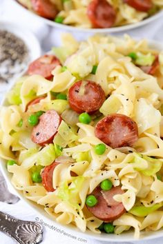 Cabbage & noodles with kielbasa