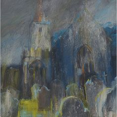 """Sarah Bee. """"Burnt out at Buckfastleigh Church"""". Acrylic & pastel on gessoed mountboard, 39 x 39 cm."""