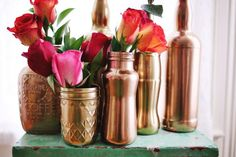 DIY tip - Spray a mason jar with metallic paint for glimmer and glam! Furniture Makeovers, via A Beautiful Mess